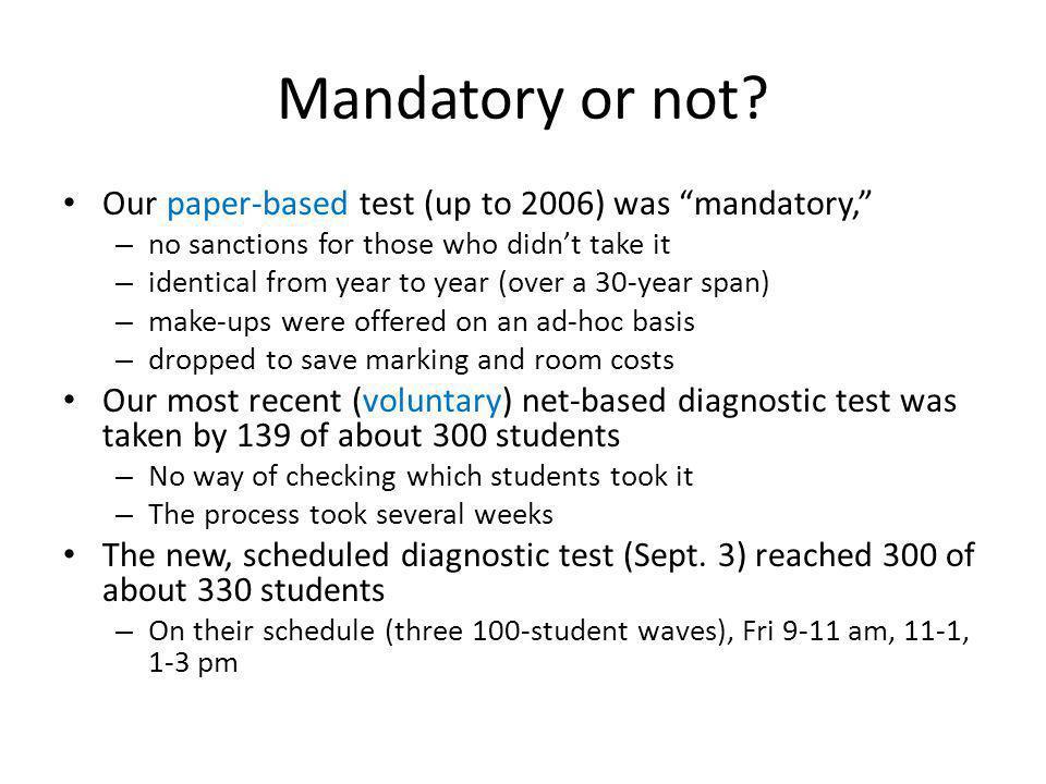 Mandatory or not.
