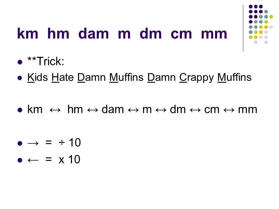 km hm dam m dm cm mm **Trick: Kids Hate Damn Muffins Damn Crappy Muffins km ↔ hm ↔ dam ↔ m ↔ dm ↔ cm ↔ mm → = ÷ 10 ← = x 10