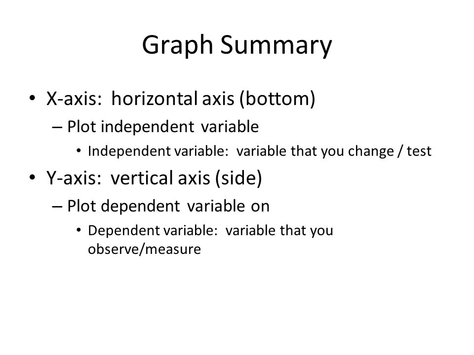 Graph Summary X-axis: horizontal axis (bottom) – Plot independent variable Independent variable: variable that you change / test Y-axis: vertical axis