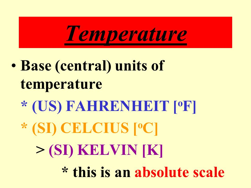 Temperature Measurement of how hot or cold something is.