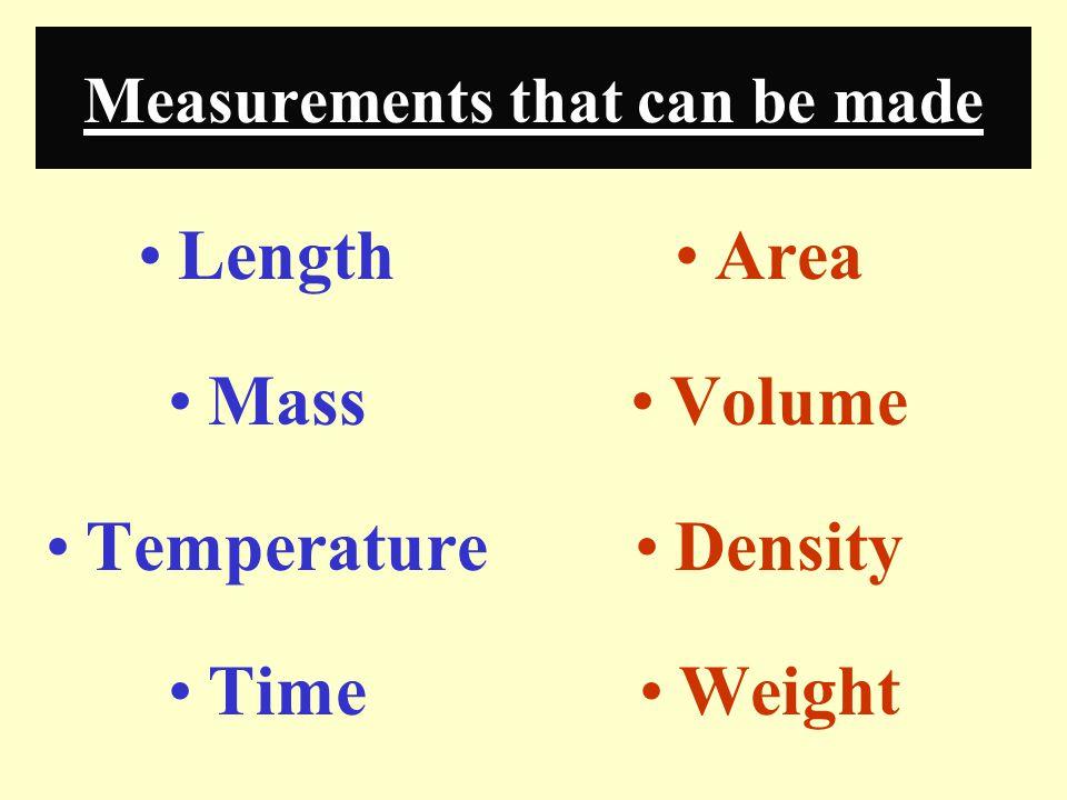 Prefixes Used When Measuring: Large Objects kilo = 10 3 hecto = 10 2 deka = 10 1 Small Objects deci = 10 -1 centi = 10 -2 milli = 10 -3