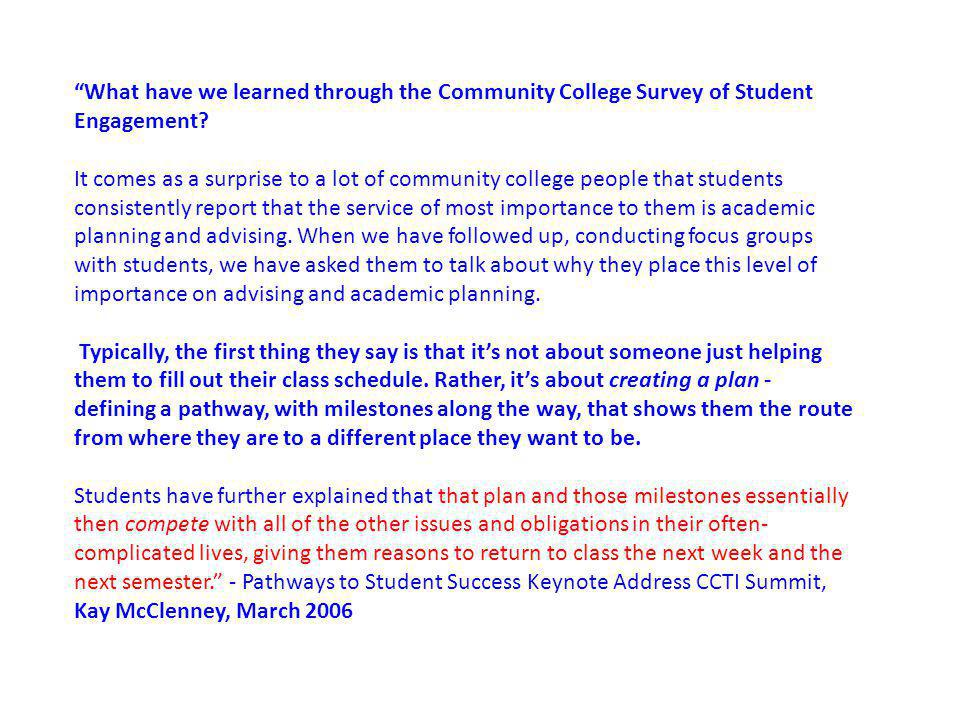 What have we learned through the Community College Survey of Student Engagement.
