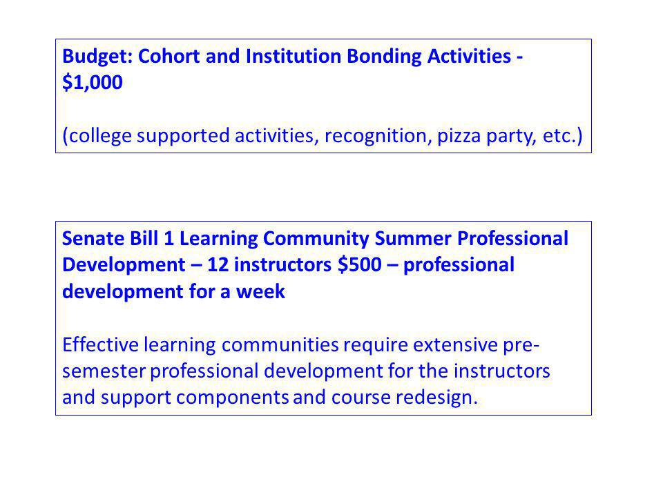Budget: Cohort and Institution Bonding Activities - $1,000 (college supported activities, recognition, pizza party, etc.) Senate Bill 1 Learning Community Summer Professional Development – 12 instructors $500 – professional development for a week Effective learning communities require extensive pre- semester professional development for the instructors and support components and course redesign.