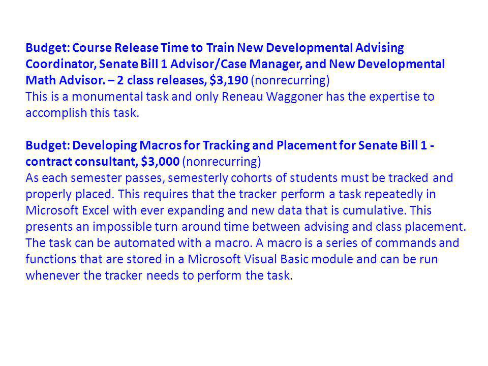 Budget: Course Release Time to Train New Developmental Advising Coordinator, Senate Bill 1 Advisor/Case Manager, and New Developmental Math Advisor.