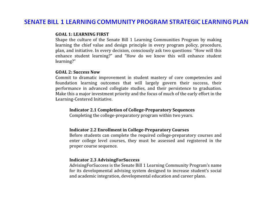 SENATE BILL 1 LEARNING COMMUNITY PROGRAM STRATEGIC LEARNING PLAN