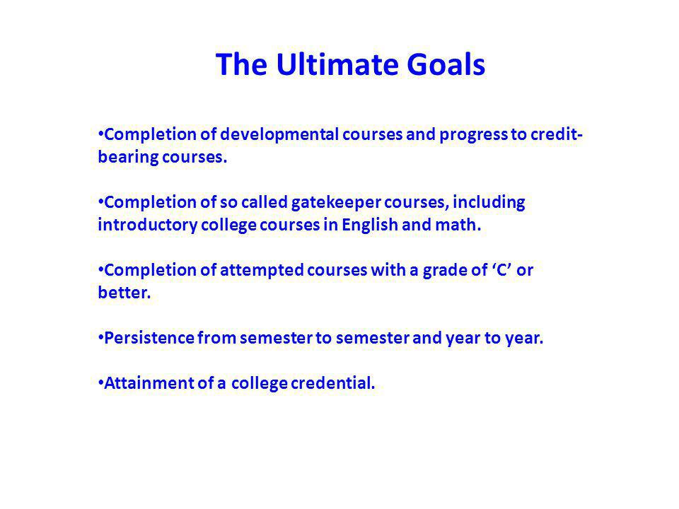 Achieving the Dream Implementation strategies: Developmental Education 1.