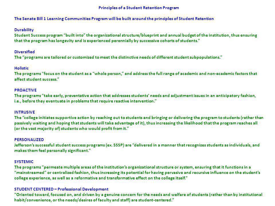 SENATE BILL 1 LEARNING COMMUNITY PROGRAM STRATEGIC LEARNING PLAN