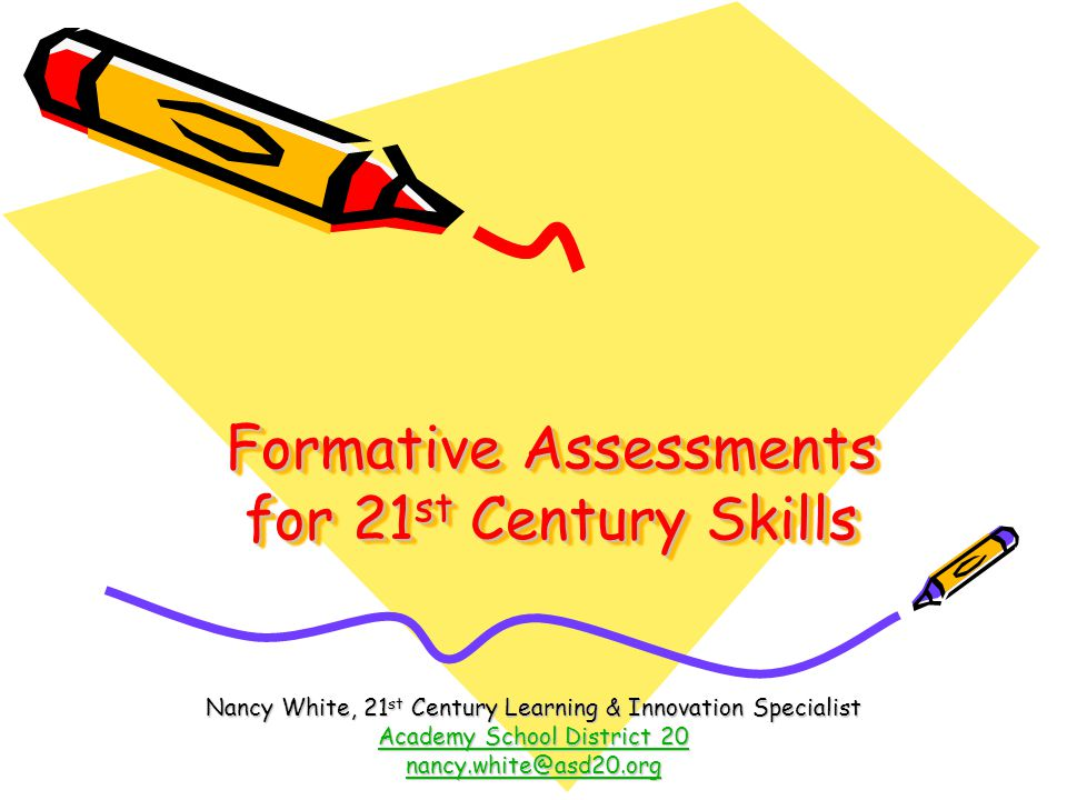 Formative Assessments for 21 st Century Skills Nancy White, 21 st Century Learning & Innovation Specialist Academy School District 20 Academy School District 20