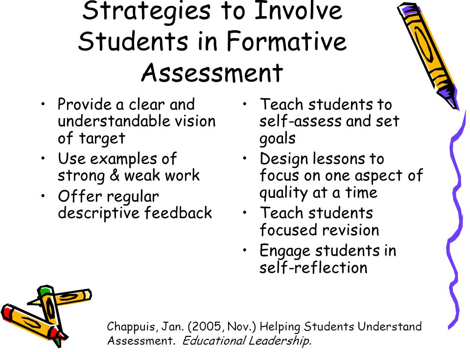 Strategies to Involve Students in Formative Assessment Provide a clear and understandable vision of target Use examples of strong & weak work Offer regular descriptive feedback Teach students to self-assess and set goals Design lessons to focus on one aspect of quality at a time Teach students focused revision Engage students in self-reflection Chappuis, Jan.