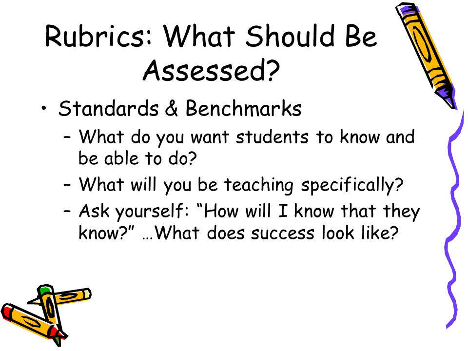 Rubrics: What Should Be Assessed.