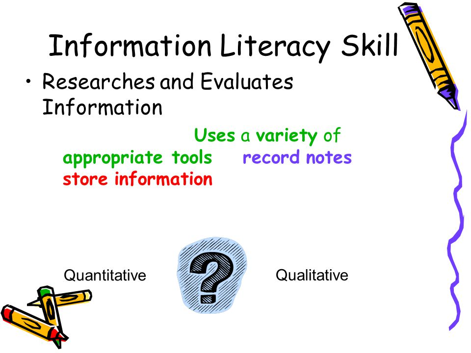 Information Literacy Skill Researches and Evaluates Information –Middle School: Uses a variety of appropriate tools to record notes and store information Qualitative Quantitative