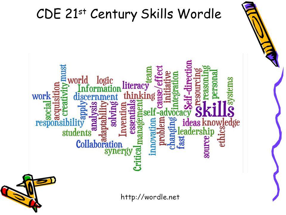 CDE 21 st Century Skills Wordle http://wordle.net