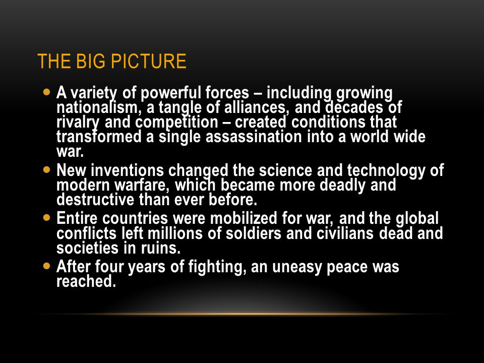 WHY WE STUDY THIS UNIT.Much of the technology of modern warfare was introduced in WW I.