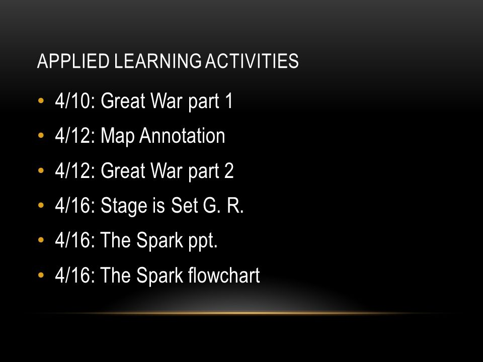 APPLIED LEARNING ACTIVITIES 4/10: Great War part 1 4/12: Map Annotation 4/12: Great War part 2 4/16: Stage is Set G.