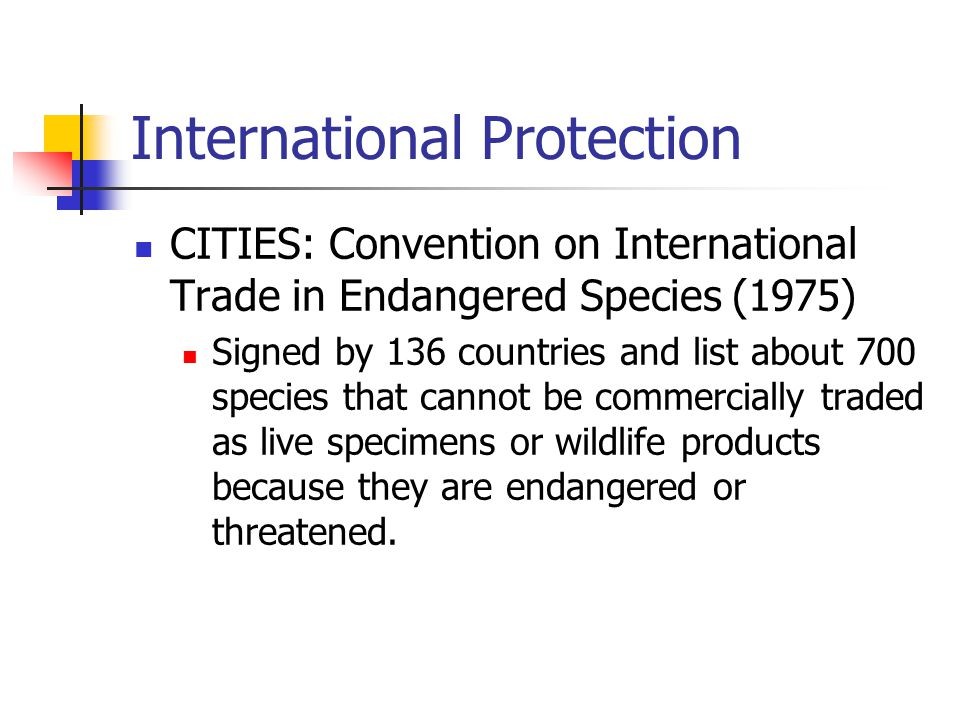 International Protection CITIES: Convention on International Trade in Endangered Species (1975) Signed by 136 countries and list about 700 species tha