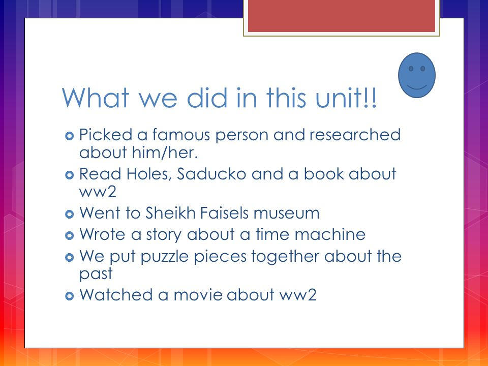 What we did in this unit!.  Picked a famous person and researched about him/her.