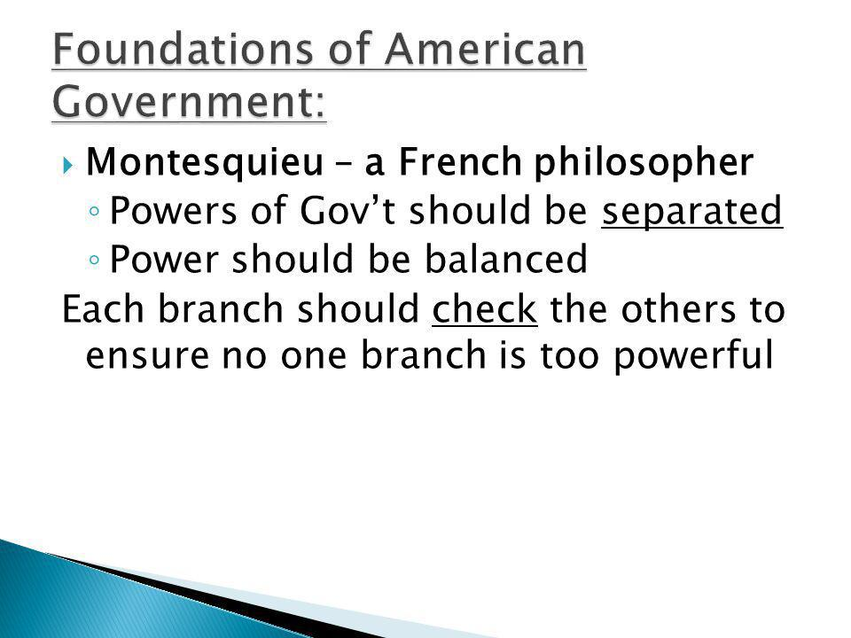  Montesquieu – a French philosopher ◦ Powers of Gov't should be separated ◦ Power should be balanced Each branch should check the others to ensure no