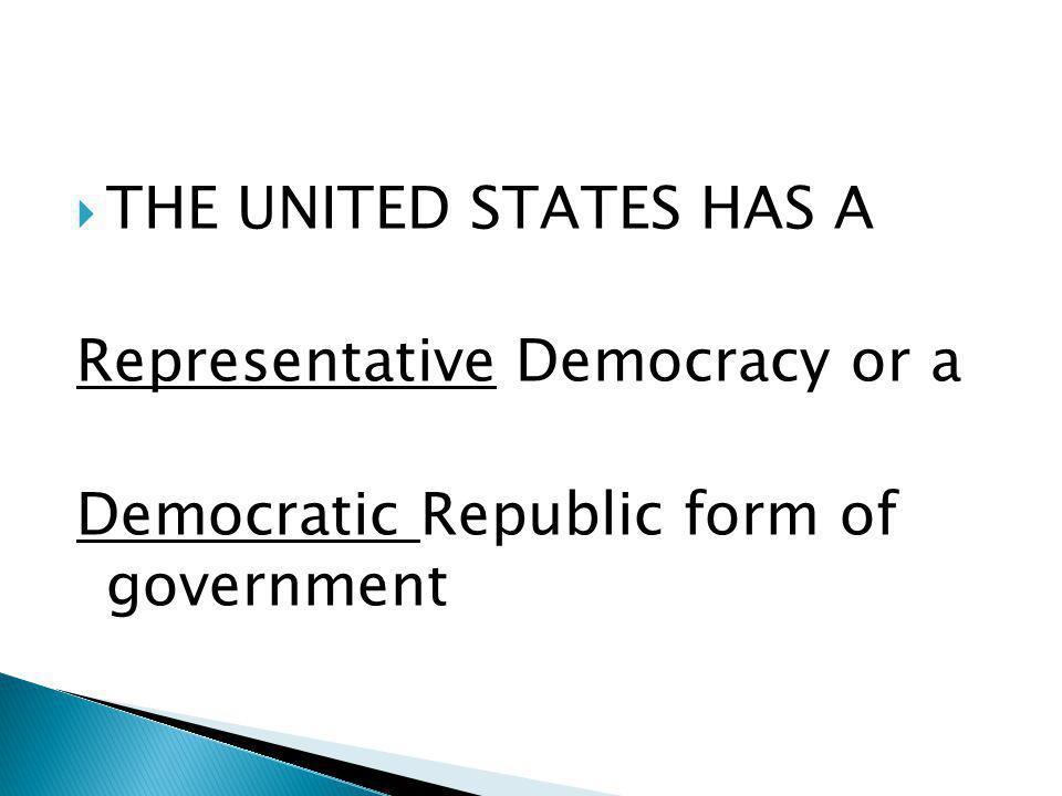  THE UNITED STATES HAS A Representative Democracy or a Democratic Republic form of government