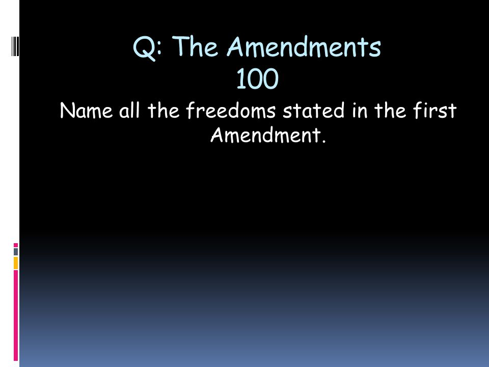 Q: The Amendments 100 Name all the freedoms stated in the first Amendment.