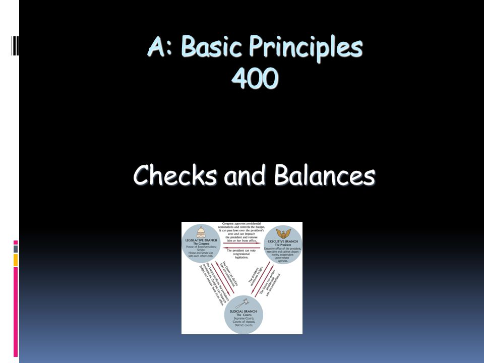 A: Basic Principles 400 Checks and Balances