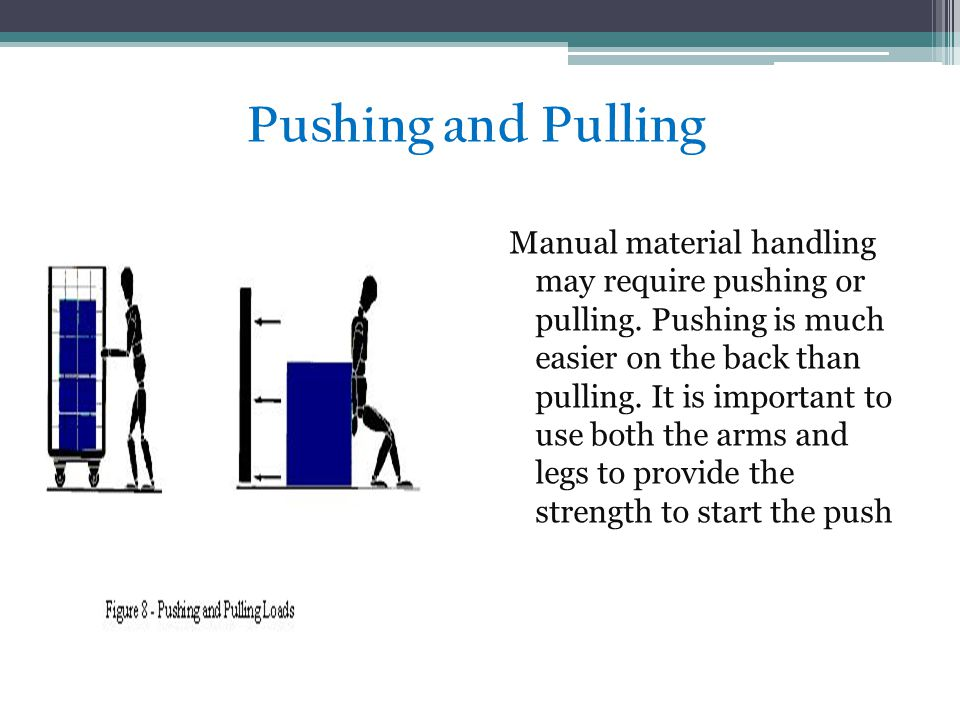 Pushing and Pulling Manual material handling may require pushing or pulling.