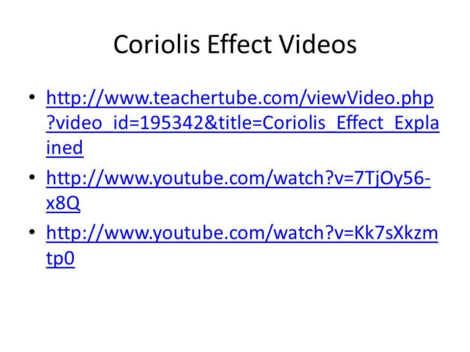 Coriolis Effect Videos http://www.teachertube.com/viewVideo.php ?video_id=195342&title=Coriolis_Effect_Expla ined http://www.teachertube.com/viewVideo