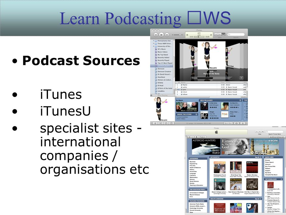 Podcast Sources iTunes iTunesU specialist sites - international companies / organisations etc Learn Podcasting WS