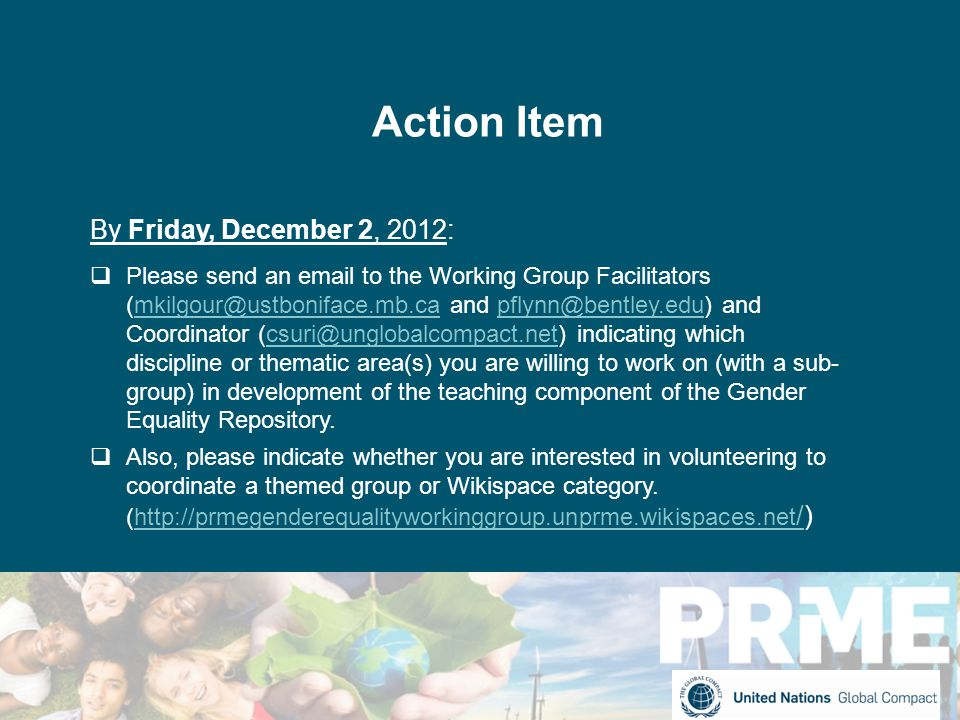 Action Item By Friday, December 2, 2012:  Please send an email to the Working Group Facilitators (mkilgour@ustboniface.mb.ca and pflynn@bentley.edu) and Coordinator (csuri@unglobalcompact.net) indicating which discipline or thematic area(s) you are willing to work on (with a sub- group) in development of the teaching component of the Gender Equality Repository.mkilgour@ustboniface.mb.capflynn@bentley.educsuri@unglobalcompact.net  Also, please indicate whether you are interested in volunteering to coordinate a themed group or Wikispace category.