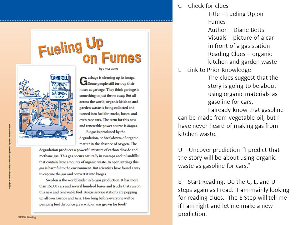 E – Examine the Reading C – 1.Garbage is being turned into fuel – this is called biogas – renewable 2.