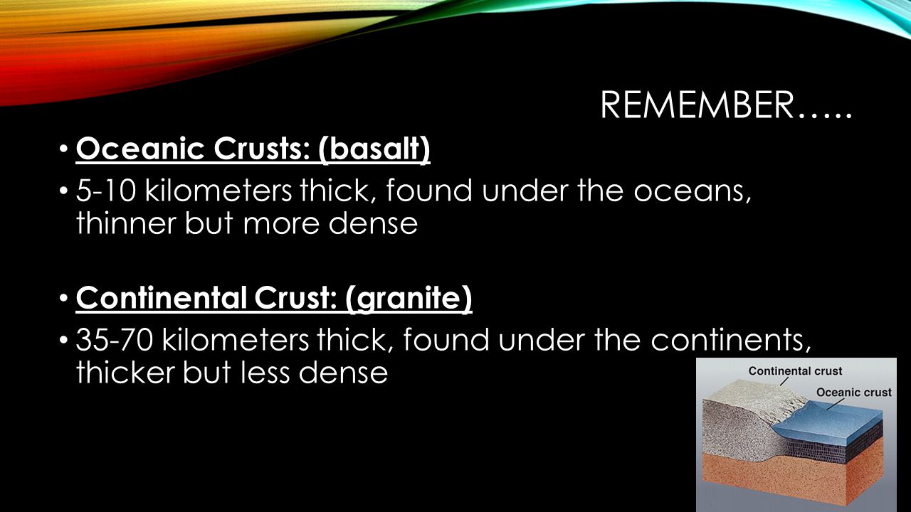 REMEMBER….. Oceanic Crusts: (basalt) 5-10 kilometers thick, found under the oceans, thinner but more dense Continental Crust: (granite) 35-70 kilomete