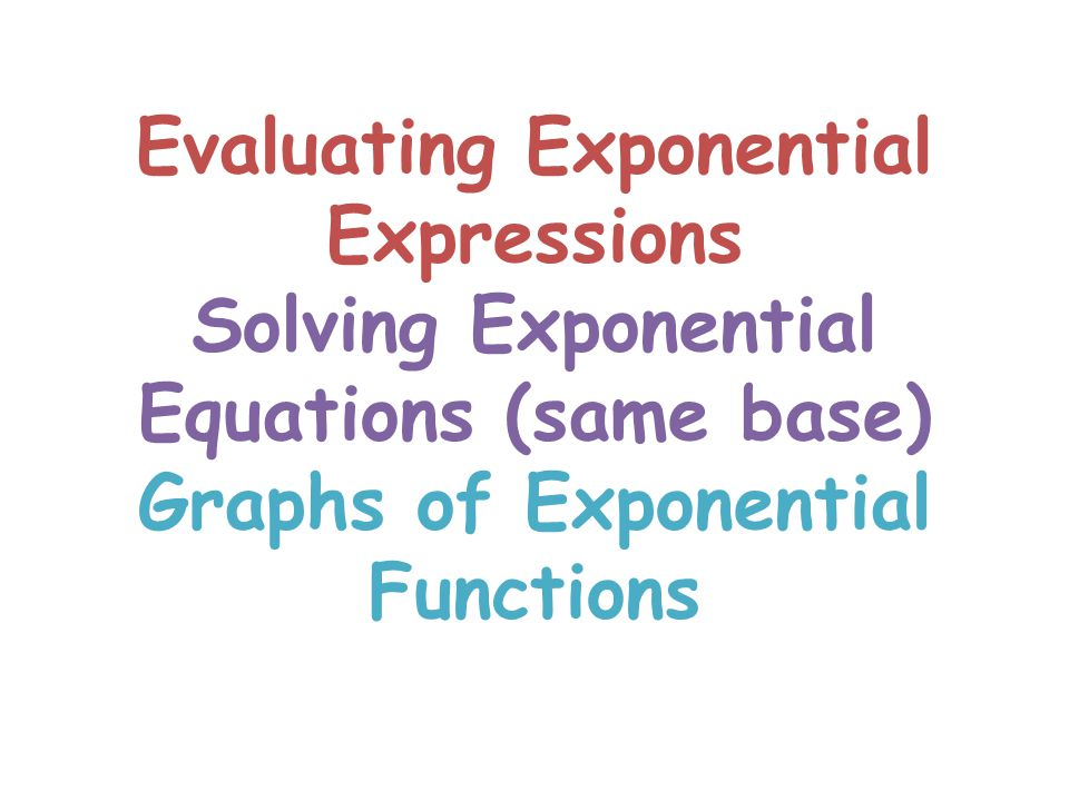 Evaluating Exponential Expressions Solving Exponential Equations (same base) Graphs of Exponential Functions