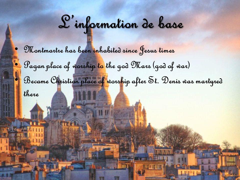 L'information de base La Sacré-Cœur was built in 1876 after the war between France & Prussia Designed by Paul Abadie Byzantine-Romanesque style 272 ft.