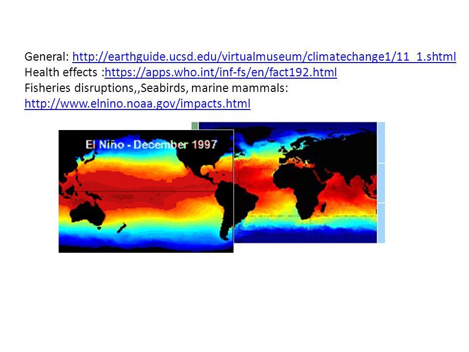 General: http://earthguide.ucsd.edu/virtualmuseum/climatechange1/11_1.shtmlhttp://earthguide.ucsd.edu/virtualmuseum/climatechange1/11_1.shtml Health effects :https://apps.who.int/inf-fs/en/fact192.htmlhttps://apps.who.int/inf-fs/en/fact192.html Fisheries disruptions,,Seabirds, marine mammals: http://www.elnino.noaa.gov/impacts.html