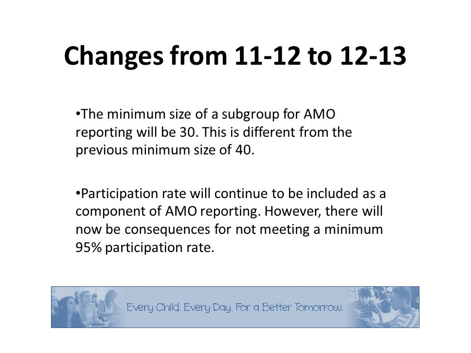Changes from 11-12 to 12-13 The minimum size of a subgroup for AMO reporting will be 30.