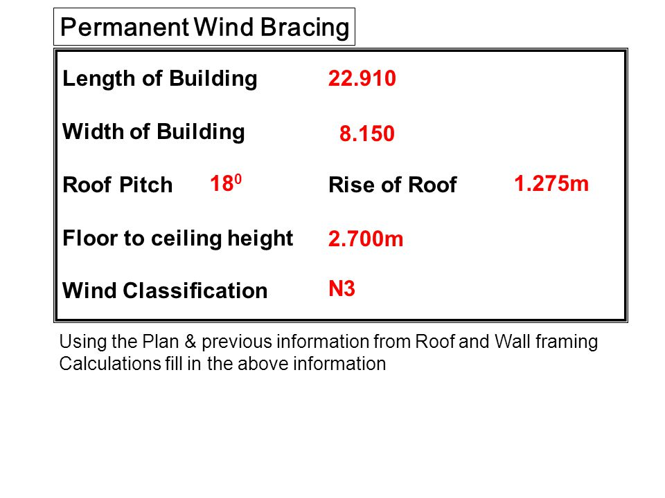 Length of Building Width of Building Roof Pitch Rise of Roof Floor to ceiling height Wind Classification Permanent Wind Bracing Using the Plan & previous information from Roof and Wall framing Calculations fill in the above information 22.910 8.150 18 0 2.700m N3 1.275m