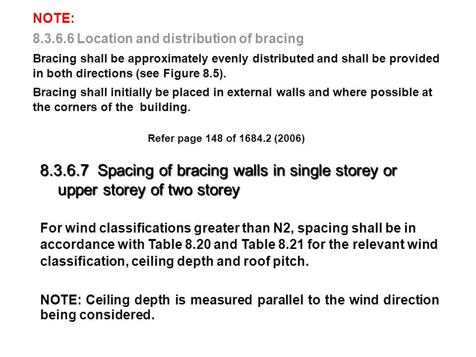 Refer page 150 of 1684.2 (2006) Wind Speed Ceiling Width Roof Pitch Spacing of Bracing