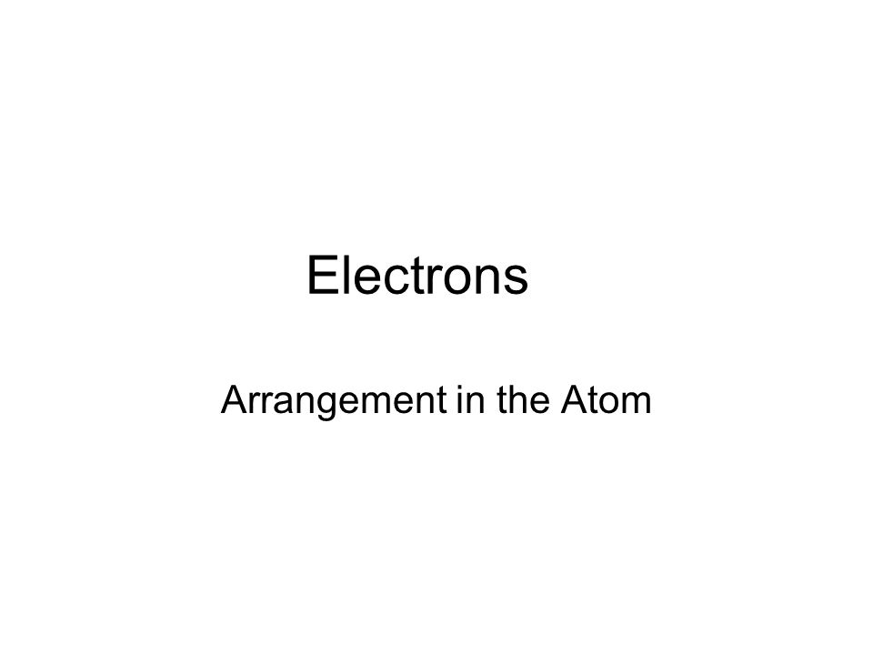Where are the electrons?