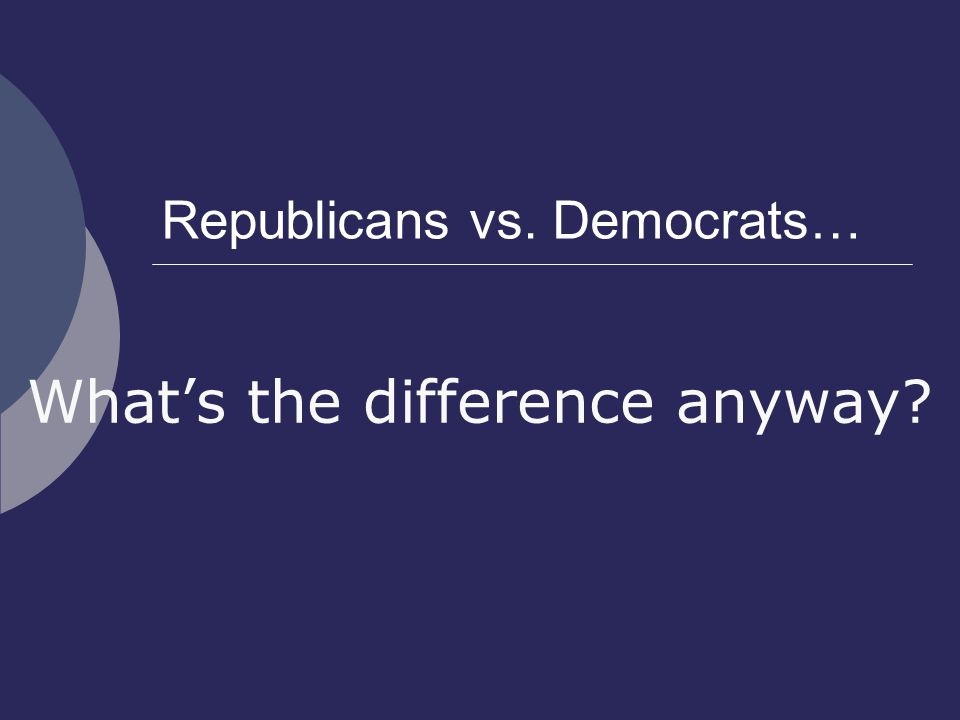 Republicans vs. Democrats… What's the difference anyway