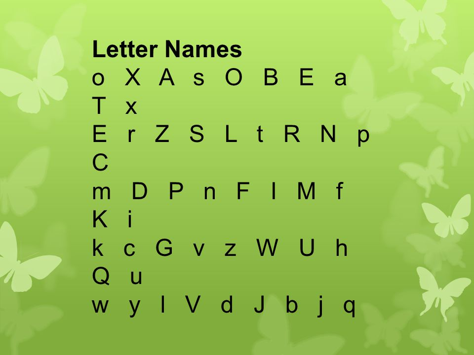 Letter Names o X A s O B E a T x E r Z S L t R N p C m D P n F I M f K i k c G v z W U h Q u w y l V d J b j q