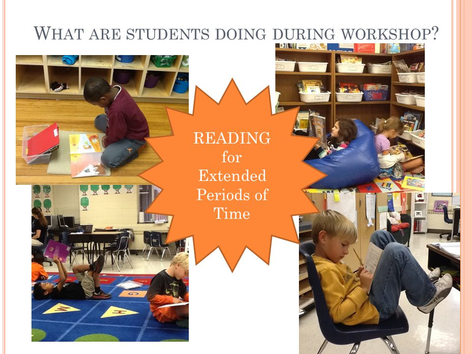 W HAT ARE STUDENTS DOING DURING WORKSHOP READING for Extended Periods of Time
