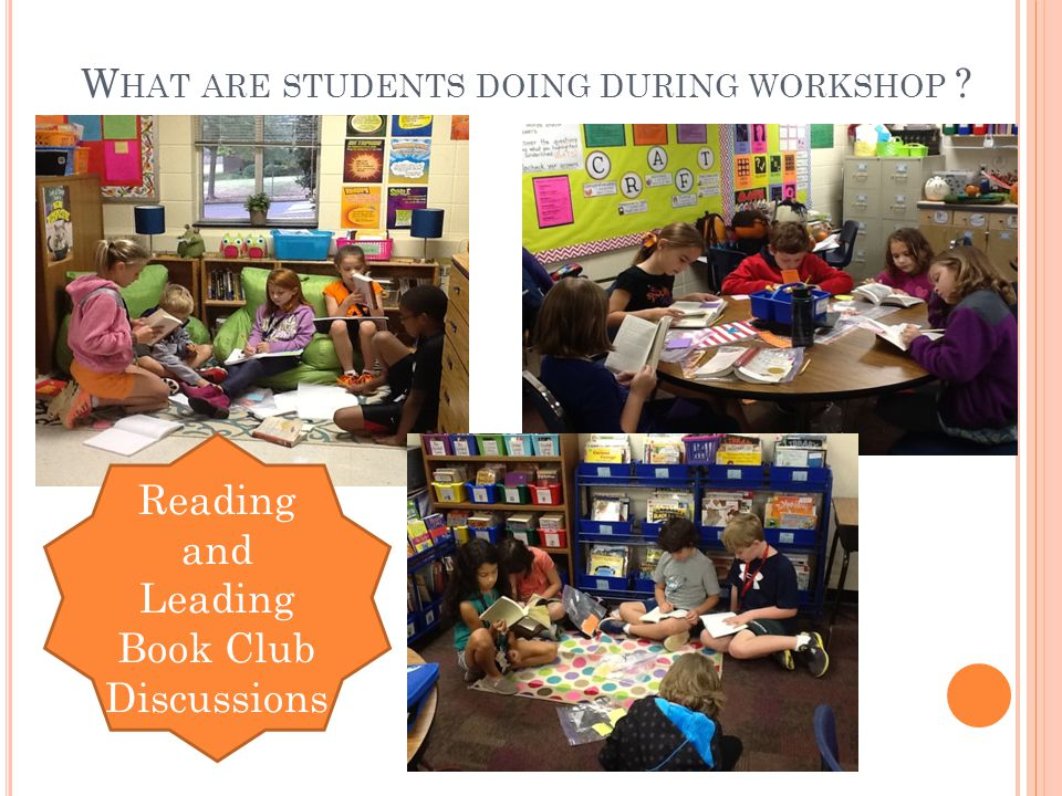 W HAT ARE STUDENTS DOING DURING WORKSHOP Reading and Leading Book Club Discussions