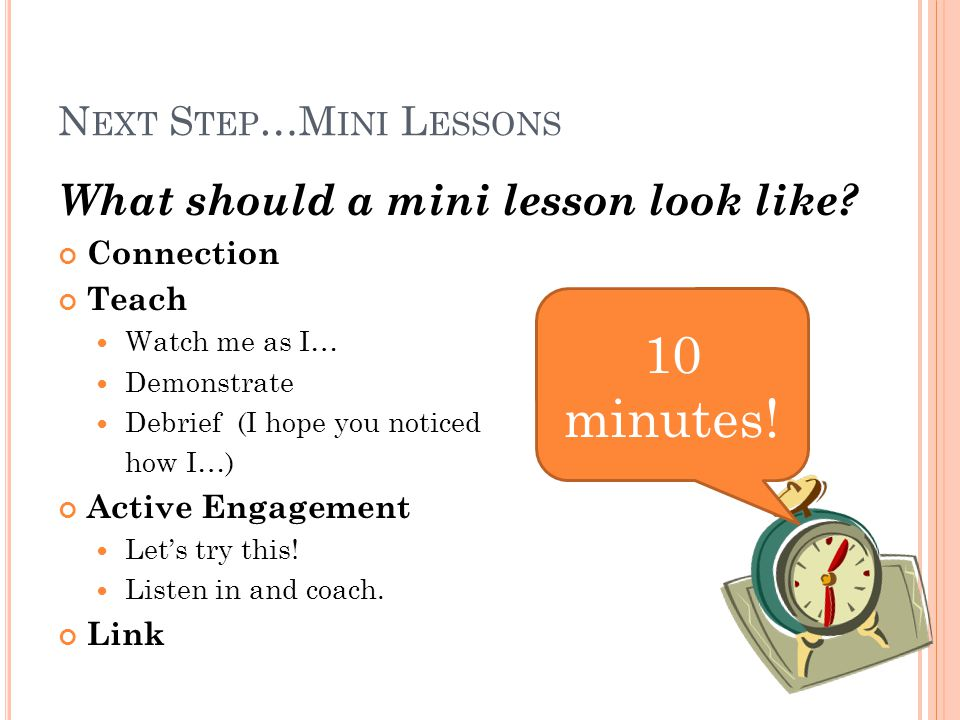 N EXT S TEP …M INI L ESSONS What should a mini lesson look like.