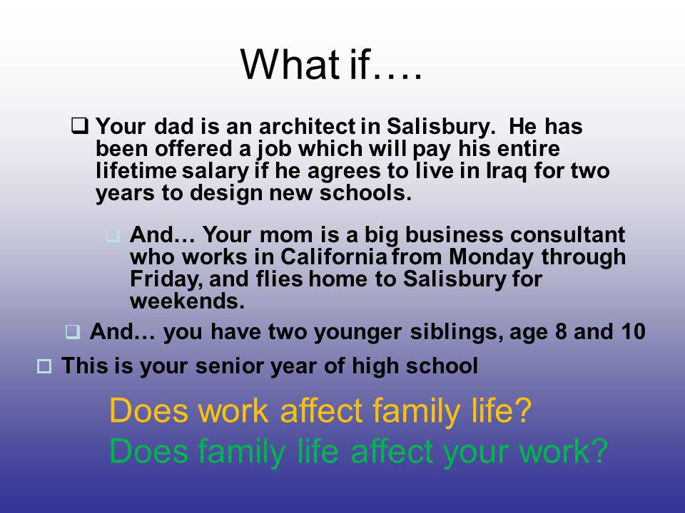 The Effects of Work on Family Life Positive –Satisfaction at work carries over into home –Work confidence can give home confidence –Models a hard work attitude for the children –Requires sharing the responsibilities at home Negative –Time management –Work overload –Too busy or tired for self or family