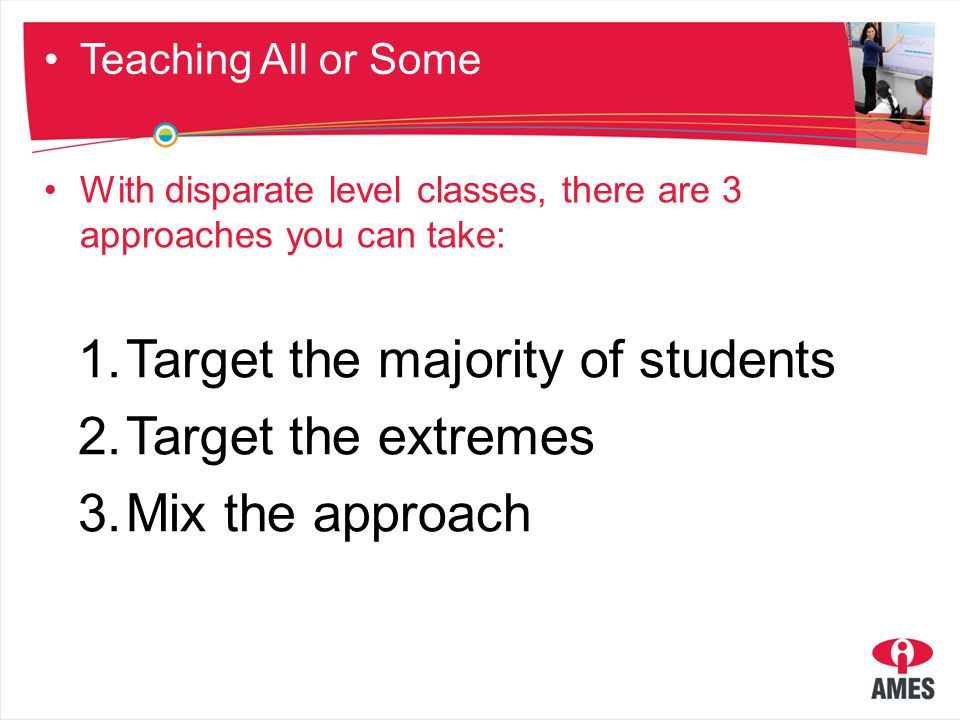 Teaching strategies Split class: equal ability Split class: mixed ability Homework Self correction Thematic approach