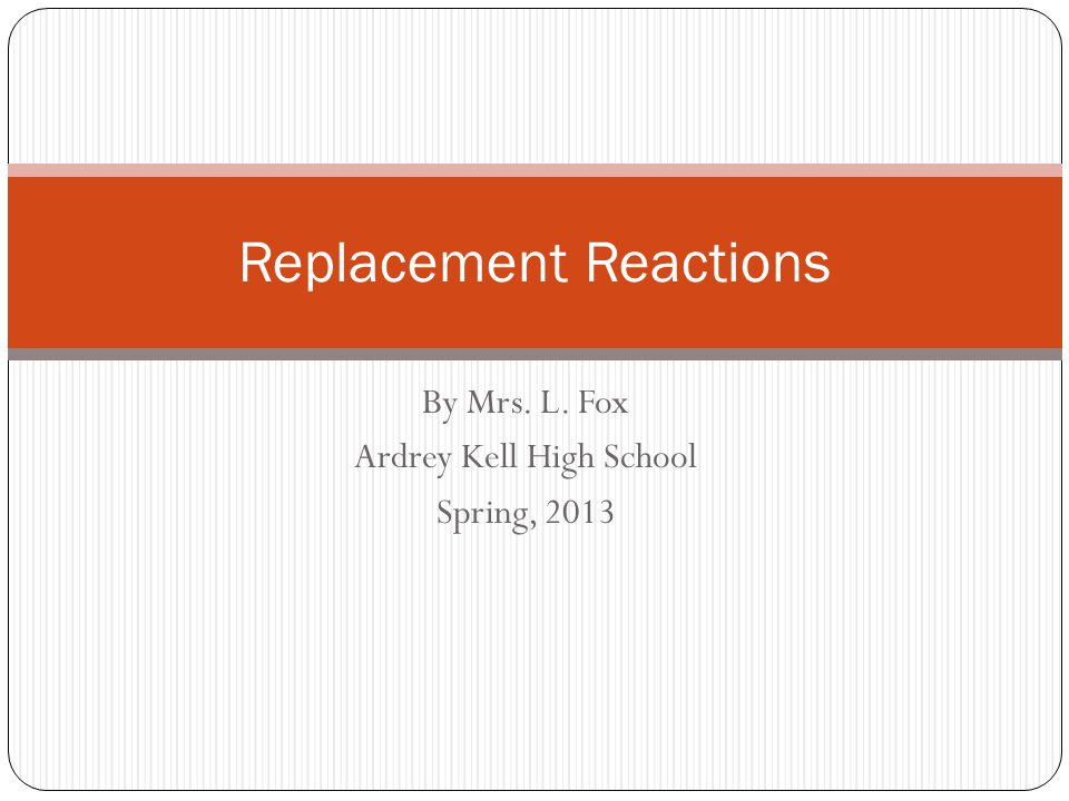 Single Replacement Reactions Occur when a more active element replaces a less active element in a compound Examples: Na + + Al 3 Cl  NaCl + 3Al 3+ Mg 2+ + FeO  MgO + Fe 2+ Use the Activity Series chart to determine whether an element will replace another