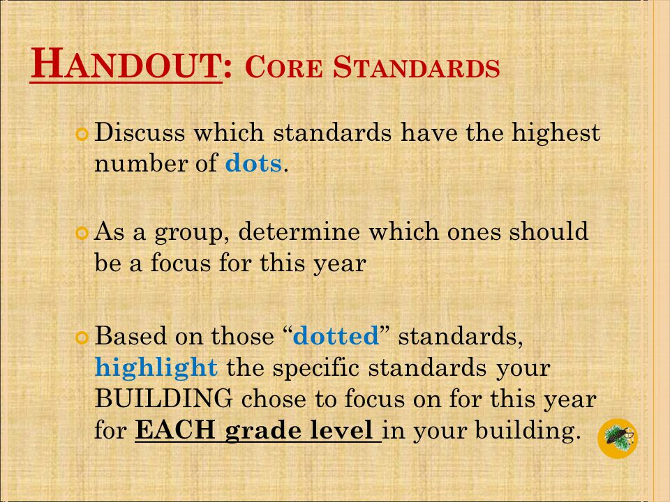 Discuss which standards have the highest number of dots.