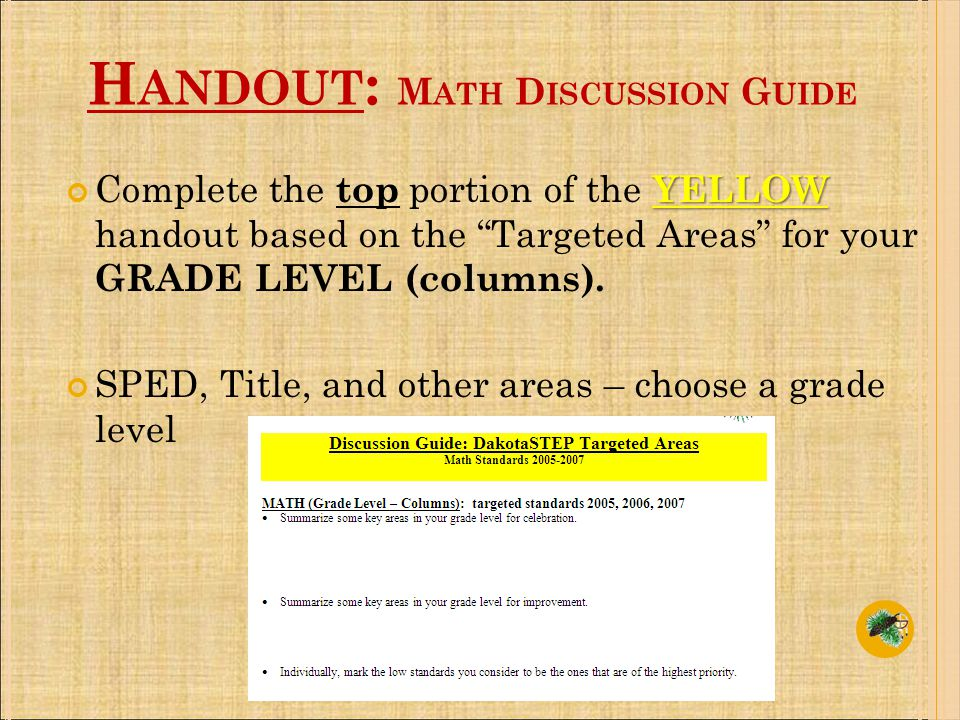 H ANDOUT : M ATH D ISCUSSION G UIDE YELLOW Complete the top portion of the YELLOW handout based on the Targeted Areas for your GRADE LEVEL (columns).