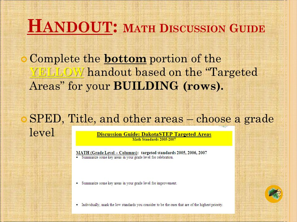 H ANDOUT : M ATH D ISCUSSION G UIDE YELLOW Complete the bottom portion of the YELLOW handout based on the Targeted Areas for your BUILDING (rows).