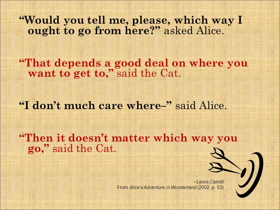 Would you tell me, please, which way I ought to go from here? asked Alice.