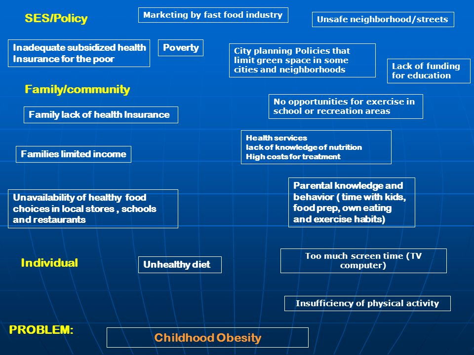 PROBLEM: Family/community SES/Policy Individual Unavailability of healthy food choices in local stores, schools and restaurants Parental knowledge and